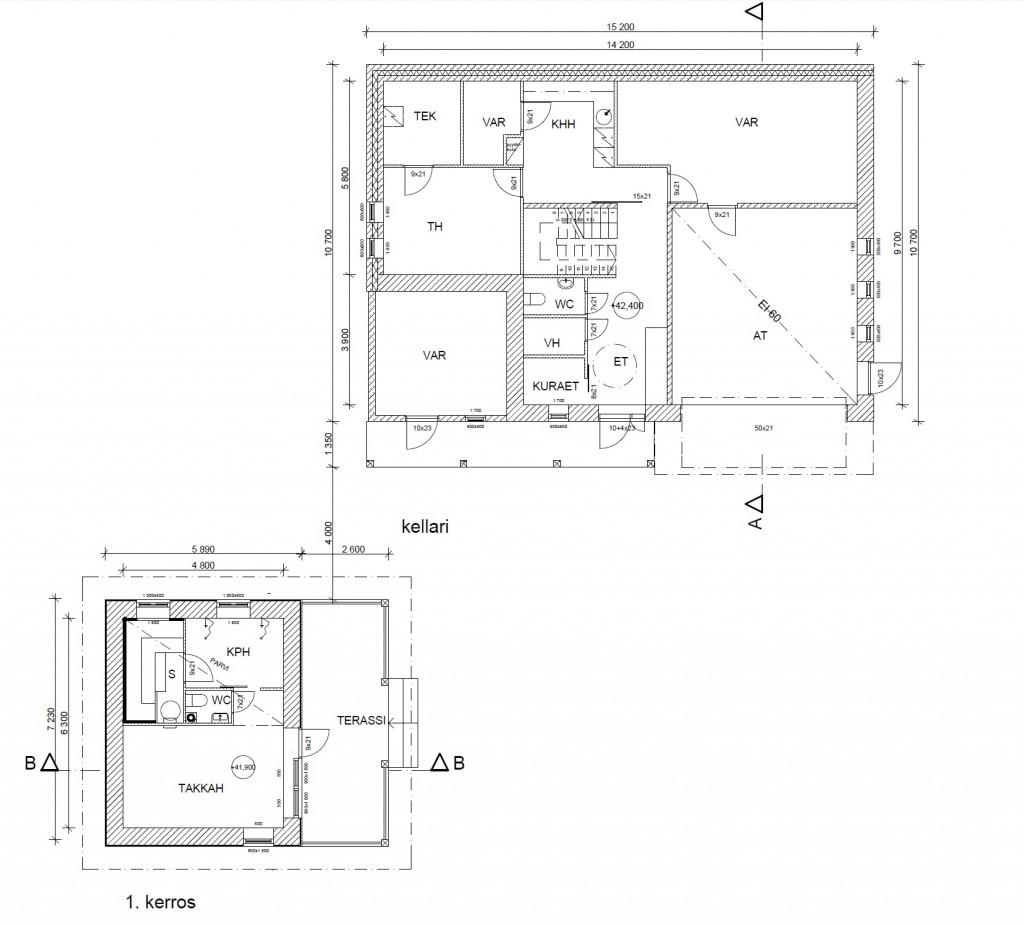 Pohjakuva kellarikerroksesta ja saunarakennuksesta