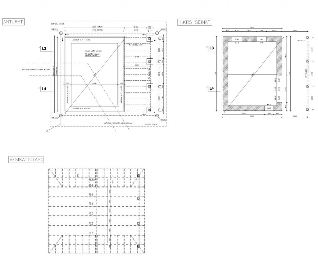 Saunarakennuksen anturat, seinärakenteet ja vesikattotaso