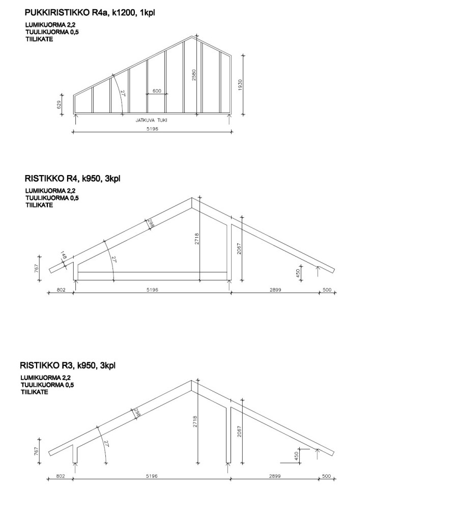 Saunarakennuksen kattoristikkokaaviot